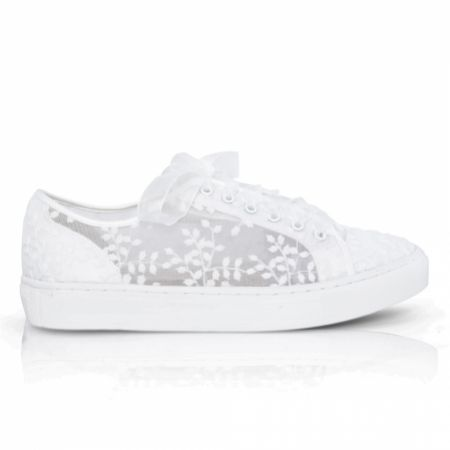 Perfect Bridal Oakley Ivory Embroidered Lace Wedding Trainers