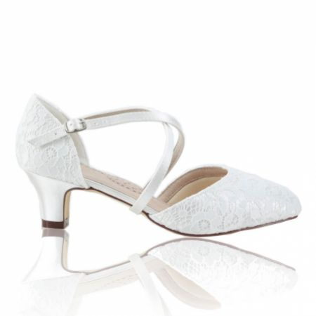 Perfect Bridal Renate Dyeable Ivory Lace Low Heel Courts with Crossover Straps