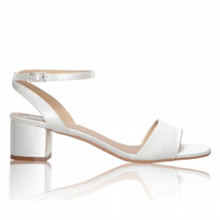 Perfect Bridal Riley Dyeable Ivory Satin Low Block Heel Sandals