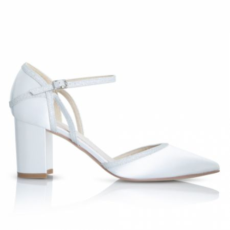 Perfect Bridal Robyn Dyeable Ivory Satin and Silver Glitter Block Heel Court Shoes