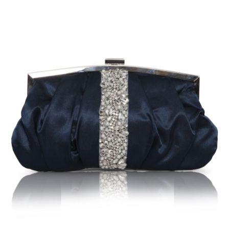 Perfect Bridal Saffron Navy Satin Embellished Clutch Bag