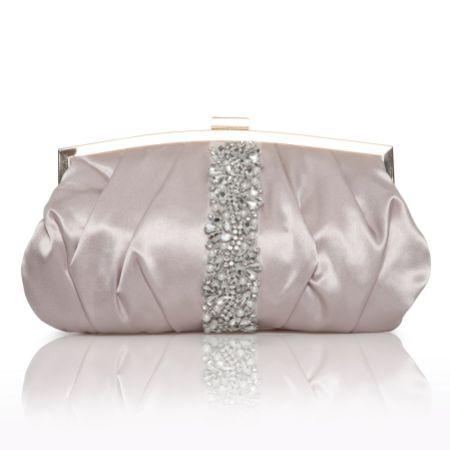 Perfect Bridal Saffron Taupe Satin Embellished Clutch Bag