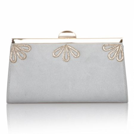 Perfect Bridal Sage Pearl Grey and Gold Shimmer Clutch Bag