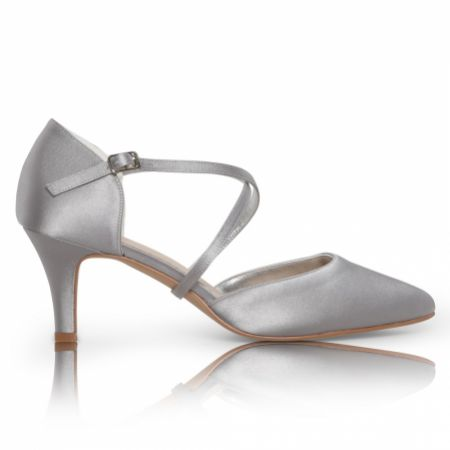 Perfect Bridal Sonya Silver Satin Mid Heel Courts with Crossover Straps
