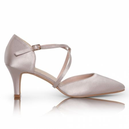 Perfect Bridal Sonya Taupe Satin Mid Heel Courts with Crossover Straps