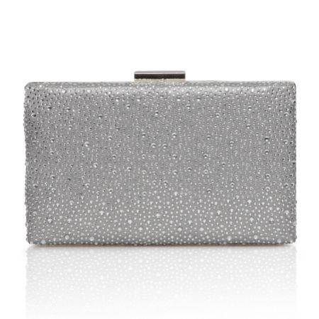 Perfect Bridal Sorrel Silver Sparkly Diamante Box Clutch Bag