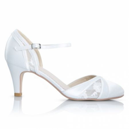 Perfect Bridal Susie Dyeable Ivory Satin and Lace Ankle Strap Wedding Shoes