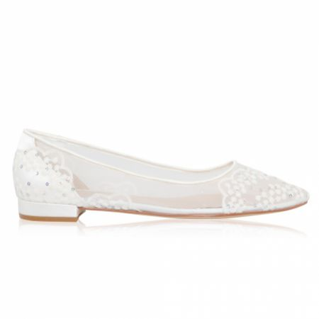 Perfect Bridal Tess Ivory Mesh and Sequin Lace Bridal Pumps