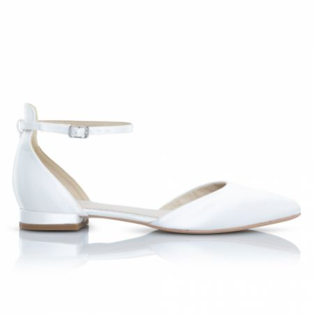 Perfect Bridal Tilly Dyeable Ivory Satin Ankle Strap Flats