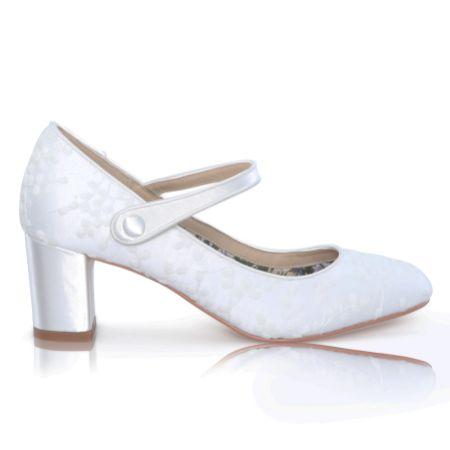 Perfect Bridal Toni Dyeable Ivory Lace Block Heel Mary Jane Shoes