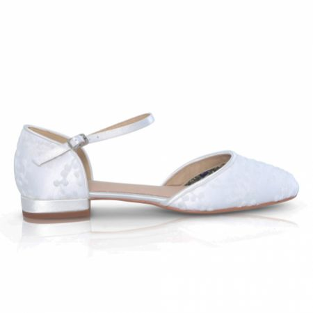 Perfect Bridal Verity Dyeable Ivory Lace Flat Wedding Shoes with Ankle Strap