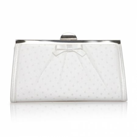 Perfect Bridal Willow Ivory Polka Dot Clutch Bag with Bow