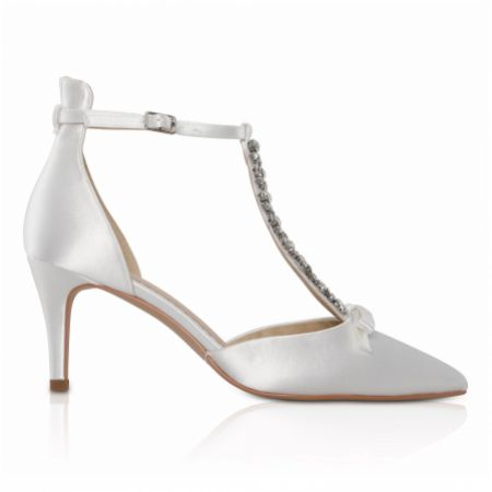Perfect Bridal Xanthe Dyeable Ivory Satin Crystal T-Bar Shoes with Bow Detail