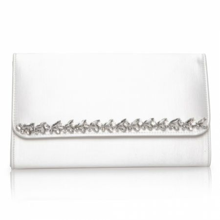 Perfect Bridal Yvette Dyeable Ivory Satin and Crystal Clutch Bag