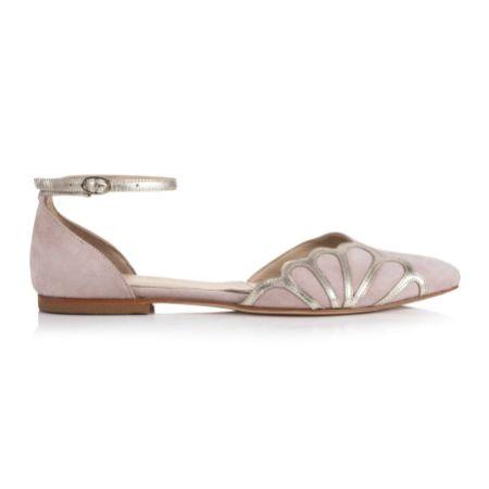 Rachel Simpson Amber Powder Pink Suede Art Deco Ankle Strap Flats