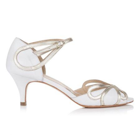 Rachel Simpson Cecelia Ivory White Leather Low Heel Sandals