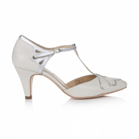 Rachel Simpson Gardenia II Ivory Leather Vintage T-Bar Wedding Shoes