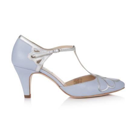 Rachel Simpson Gardenia II Powder Blue Leather Vintage T-Bar Wedding Shoes