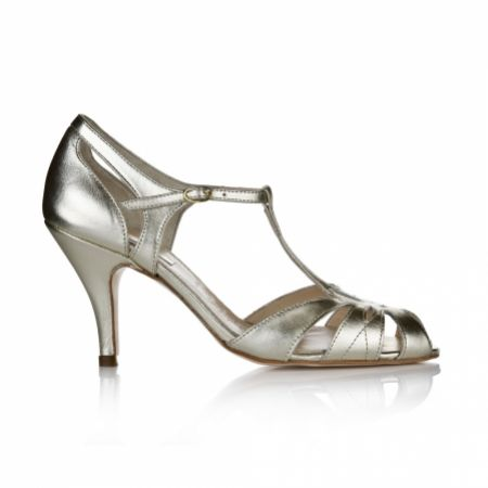 Rachel Simpson Ginger Gold Leather Vintage T-Bar Shoes
