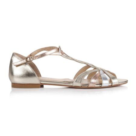 Rachel Simpson Luna Gold Leather Flat T-Bar Sandals