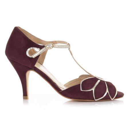 Rachel Simpson Mimosa Berry Suede Vintage T-Bar Shoes