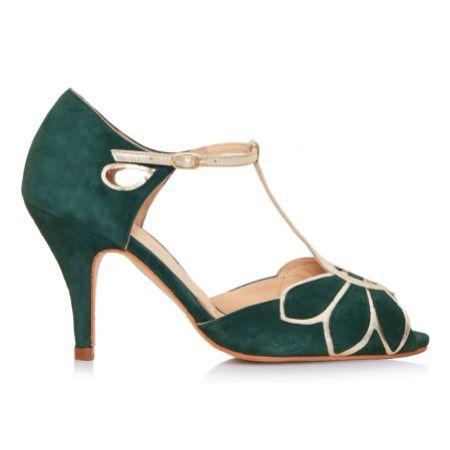 Rachel Simpson Mimosa Forest Green Suede Vintage T-Bar Shoes