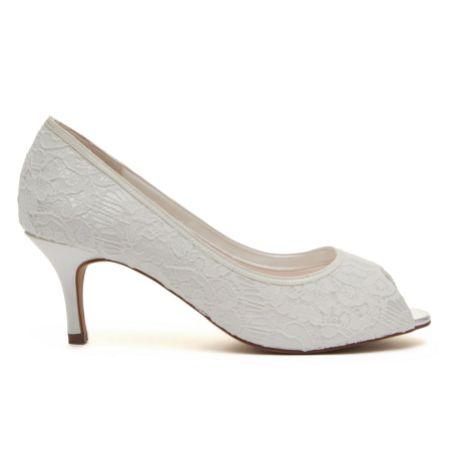 Rainbow Club Ava Dyeable Ivory Lace Peep Toe Wedding Shoes