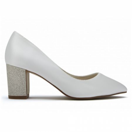 Rainbow Club Bambi Dyeable Ivory Satin and Silver Gitter Block Heel Courts