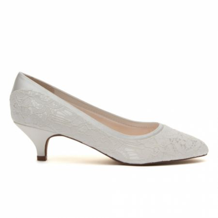 Rainbow Club Bobbie Dyeable Ivory Lace Low Heel Court Shoes