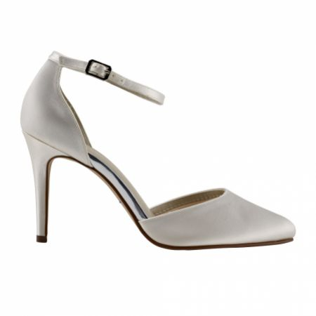 Rainbow Club Carly Dyeable Ivory Satin Ankle Strap Court Shoes