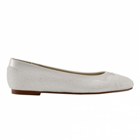 Rainbow Club Cecily Ivory Satin and Glitter Flat Ballet Pumps