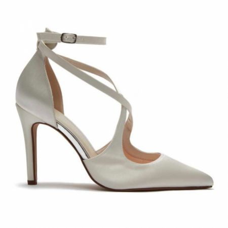 Rainbow Club Chloe Dyeable Ivory Satin Strappy Pointed Wedding Shoes