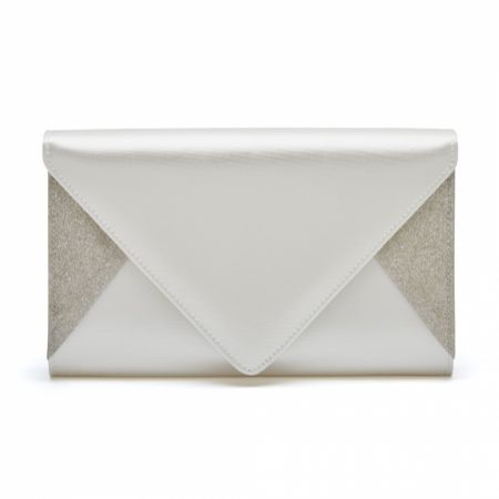 Rainbow Club Diane Dyeable Ivory Satin and Silver Glitter Envelope Clutch Bag