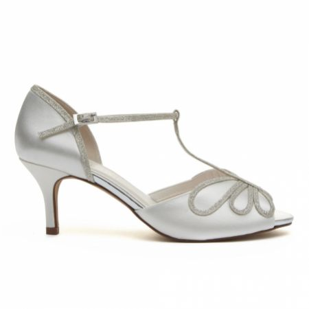 Rainbow Club Harlow Dyeable Ivory Satin and Silver Glitter T-Bar Shoes