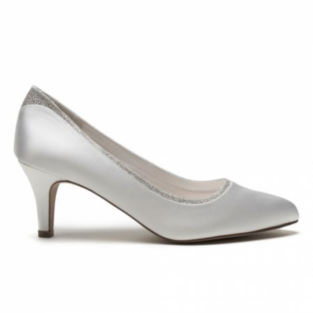 Rainbow Club Jara Dyeable Ivory Satin and Silver Glitter Wide Fit Court Shoes