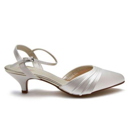Rainbow Club Julie Dyeable Ivory Satin Low Heel Wedding Shoes