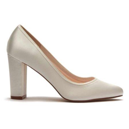Rainbow Club Keily Dyeable Ivory Satin Block Heel Court Shoes