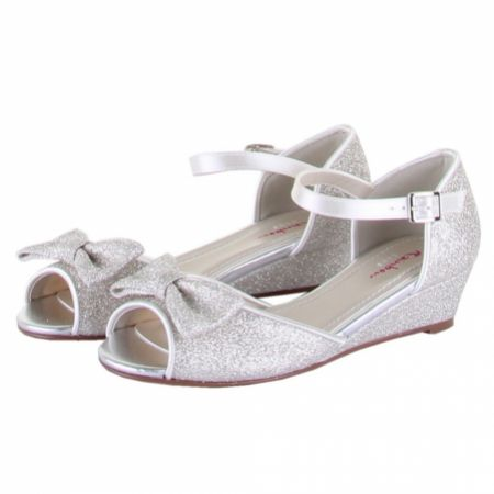 Rainbow Club Kirsty Dyeable Silver Glitter Peep Toe Wedge Kids Shoes