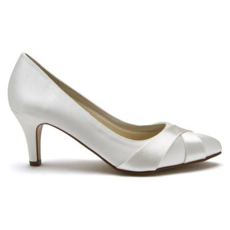 Rainbow Club Lexi Dyeable Ivory Satin Wedding Court Shoes