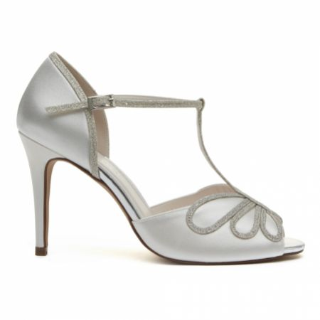 Rainbow Club Luciana Dyeable Ivory Satin and Silver Glitter T-Bar Shoes