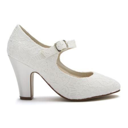 Rainbow Club Madeline Dyeable Ivory Lace Mary Jane Wedding Shoes
