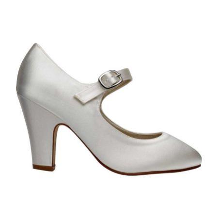 Rainbow Club Madeline Dyeable Ivory Satin Mary Jane Wedding Shoes