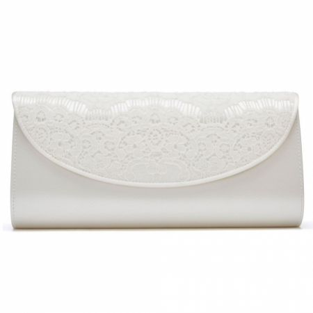 Rainbow Club Melody Dyeable Ivory Satin and Lace Wedding Clutch Bag
