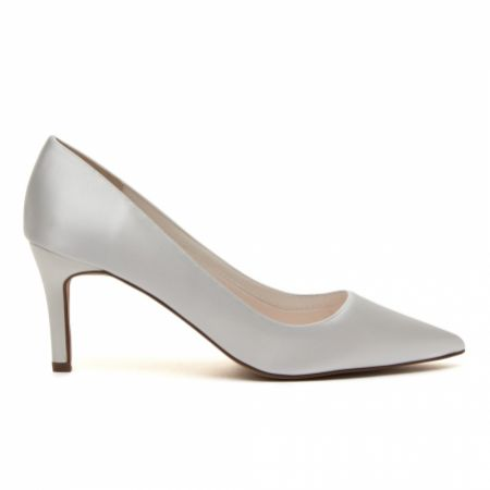 Rainbow Club Morgan Dyeable Ivory Satin Mid Heel Pointed Court Shoes