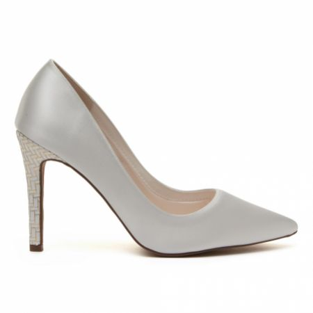 Rainbow Club Rochelle Dyeable Ivory Satin and Parquet Court Shoes