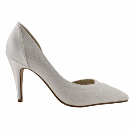 Rainbow Club Roux Ivory Satin and Glitter Pointed Court Shoes