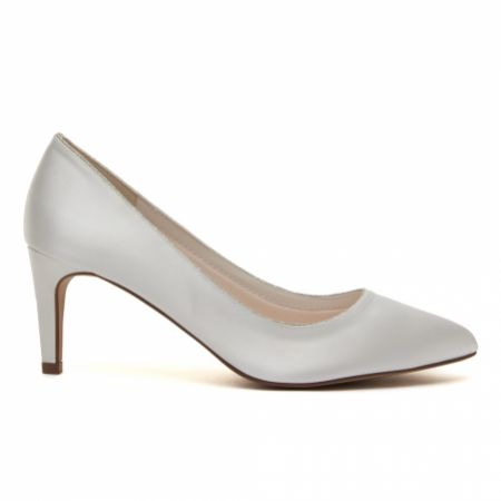 Rainbow Club Stella Dyeable Ivory Satin and Silver Glitter Mid Heel Courts