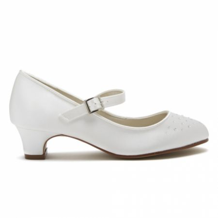 Rainbow Club Verity Dyeable Ivory Satin and Crystal Kids Bar Shoes