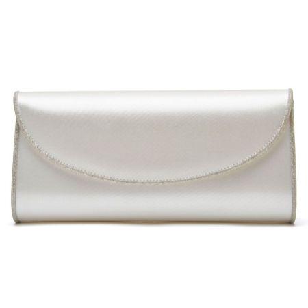Rainbow Club Viki Dyeable Ivory Satin and Silver Glitter Wedding Clutch Bag