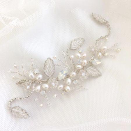 Rebekah Freshwater Pearl and Opal Crystal Floral Hair Vine